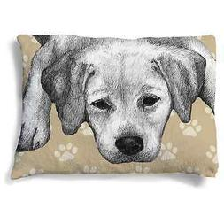 Laural Home Yellow Lab Fleece Dog Bed Brown, Black, Off-Whit