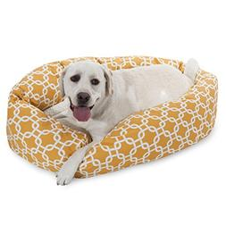 40 Inch Yellow Links Sherpa Bagel Dog Bed