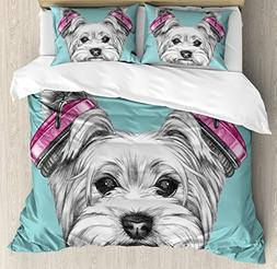Ambesonne Yorkie Duvet Cover Set King Size, Dog with Headpho